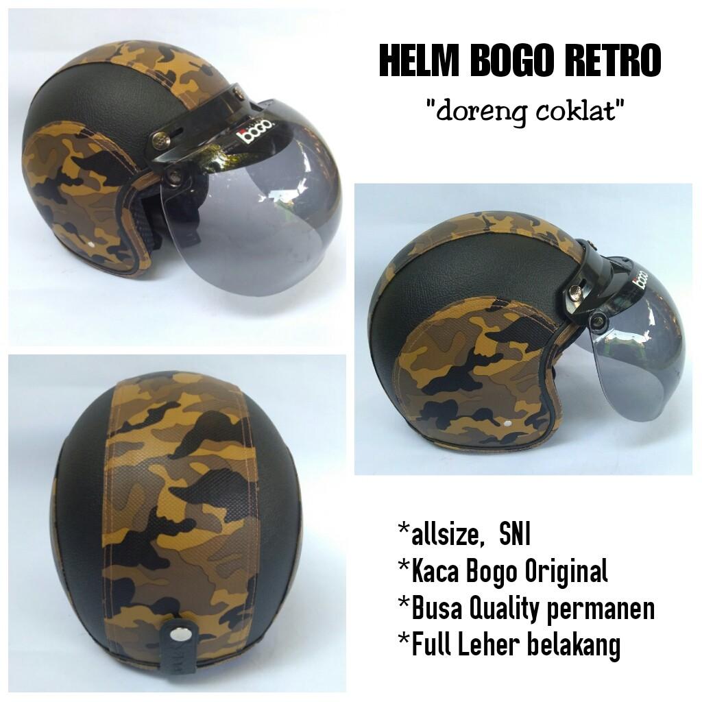 Helm Bogo Standart Retro Army, Helm Retro Doreng, Helm Klasik motif Loreng | Shopee Indonesia