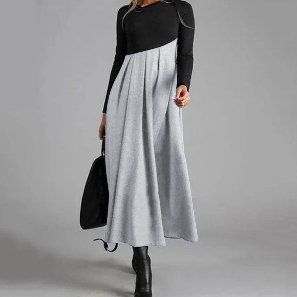 frauen kleid landschaft gedruckt langarm kleidung plus große größe elegante  lose kleider camisas mujer 2020