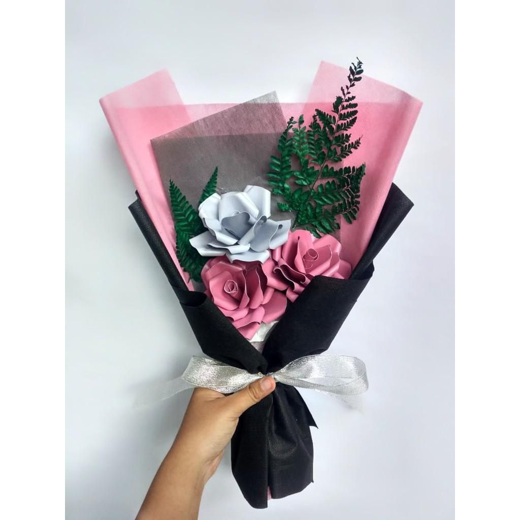 Mini Paper Flower Pink Bucket Buket Bunga Kertas Hand Bouquet Shopee Indonesia