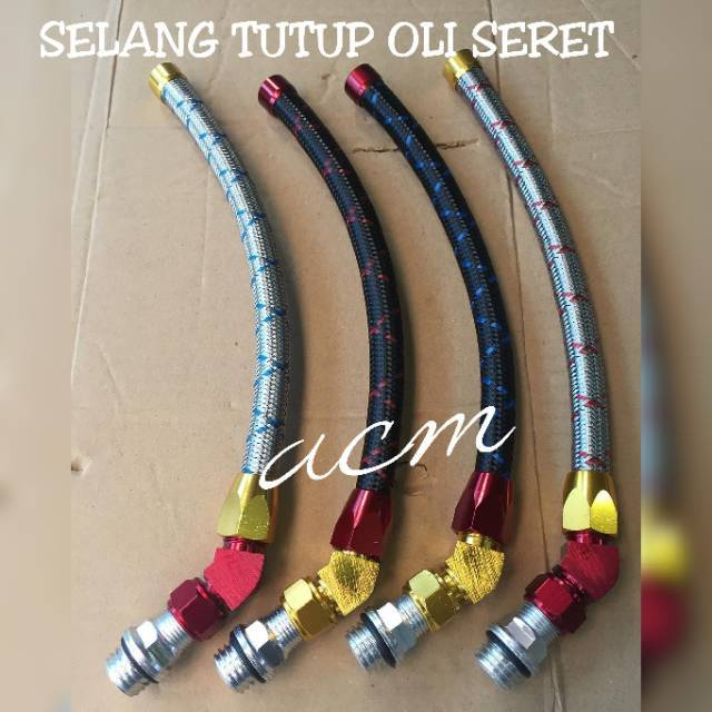 SELANG TUTUP OLI CNC SERET SILVER & HITAM UNIVERSAL MOTOR | Shopee Indonesia