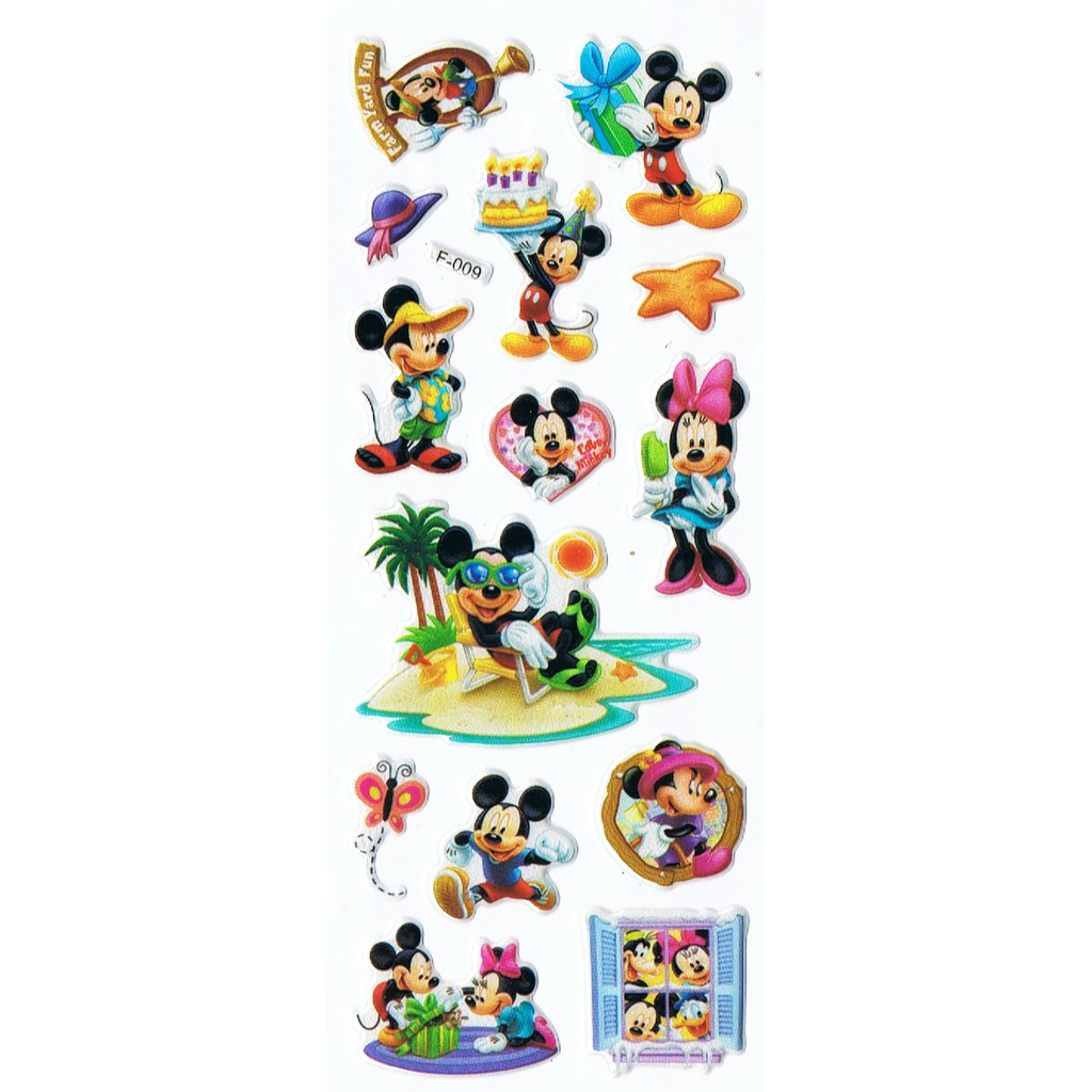 SK005 Stiker Sticker Timbul Set Strip Aneka Gambar Kartun Anak Mickey