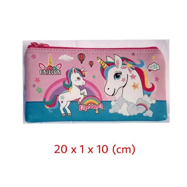 Tempat pensil / kotak pensil / pencil case unicorn kulit PU   Shopee Indonesia