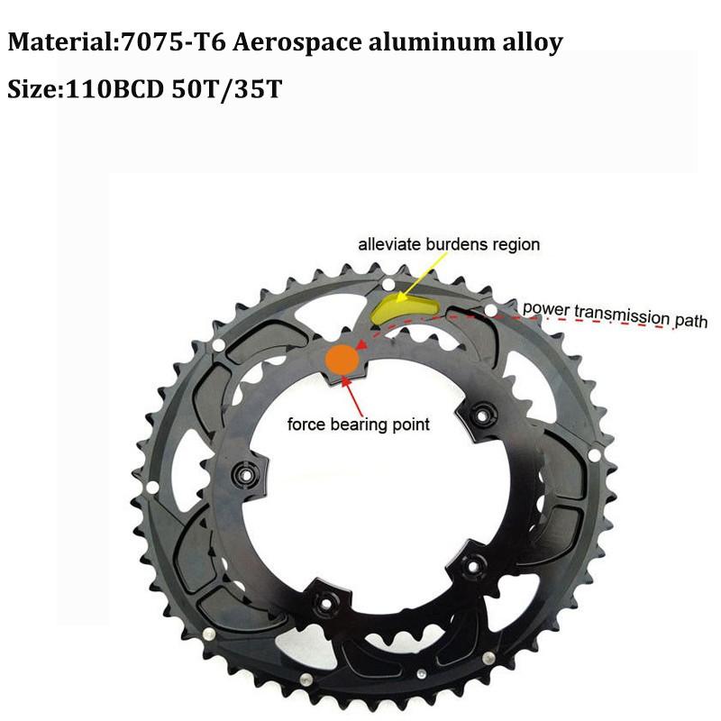 7075 T6 Aluminum Crankset Road Bike 110BCD 50T//35T Double Speed Chainring Crank