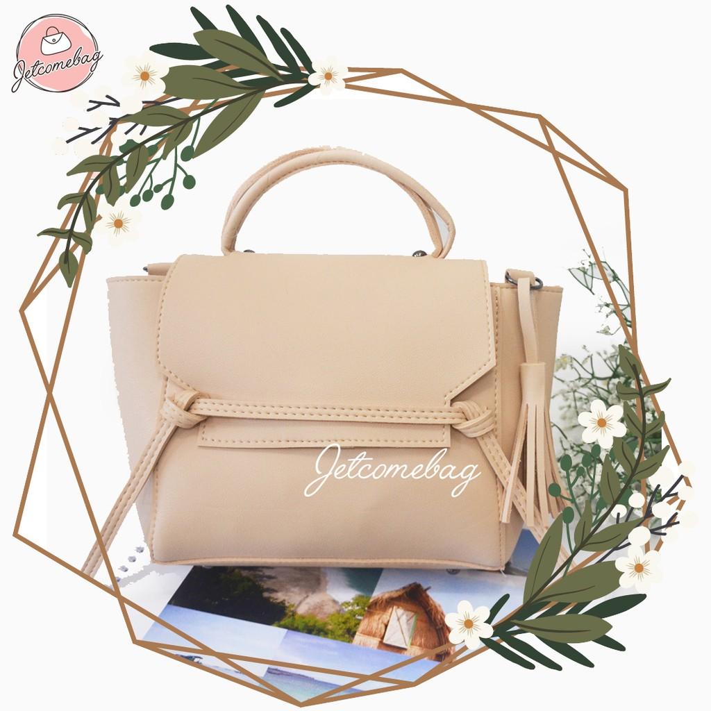 Tas Wanita Termurah Premium Mini Sling Bag Apple Kuncir Casual JETCOMEBAG -  Black   Grey  ad9489fea8