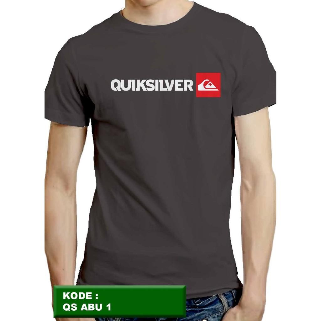 kaos Quiksilver, kaos pria, kaos cowok, kaos distro, t-shirt, abu 3 | Shopee Indonesia