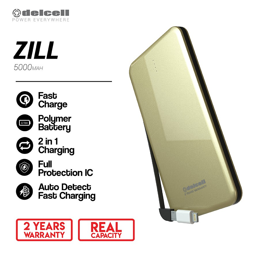 Delcell 5000mAh Powerbank ZILL Real Capacity Slim Powerbank Polymer Battery Build in Cable Murah Ber