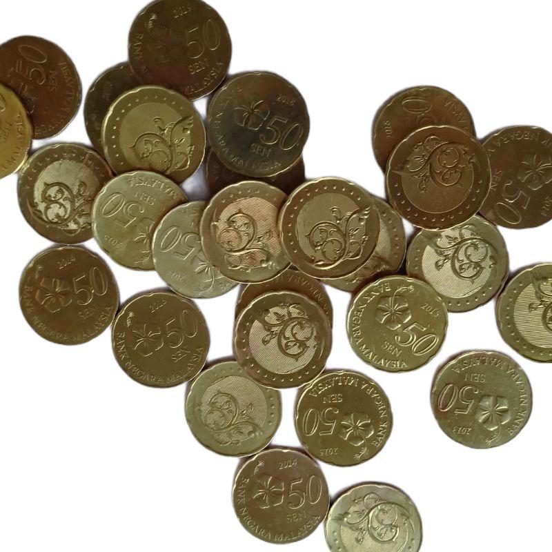 Koin asing Malaysia 50 sen kuning