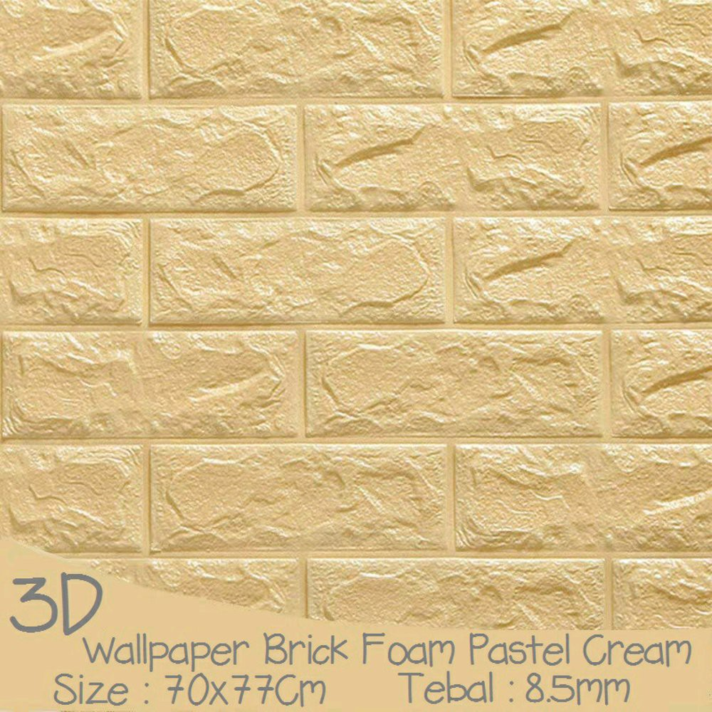 ALL GROSIR WALLPAPER 3D FOAM BRICK WALLPAPER 3D DINDING BATU BATA CREAM MURAH