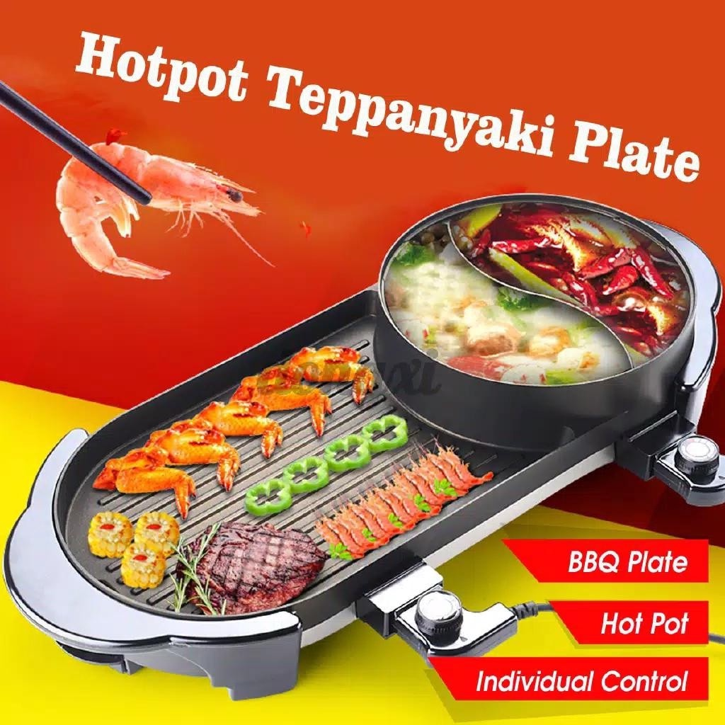 KOREAN GRILL PAN YAKINIKU BBQ STEAMBOAT 5IN1 2COLOKAN 2 SUP 1BBQ