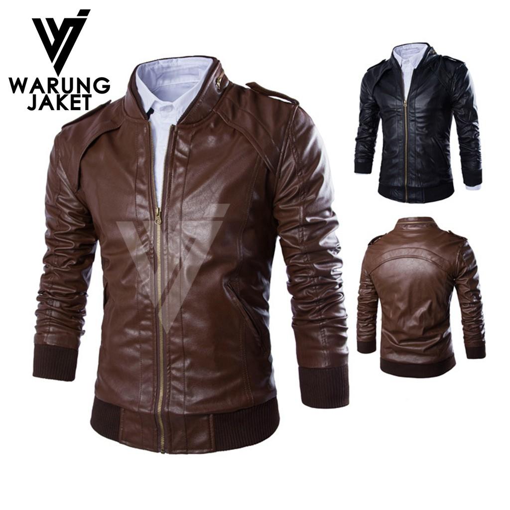 Jaket Kulit Sintetis Fashionable Sporty Wj573 Pu Leather Semi Bomber Hitam Semikulit Shopee Indonesia