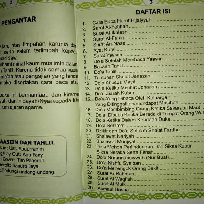 Special Buku Yasin Tahlil Dan Doa Nurbuat Dilengkapi Surat Tabarok