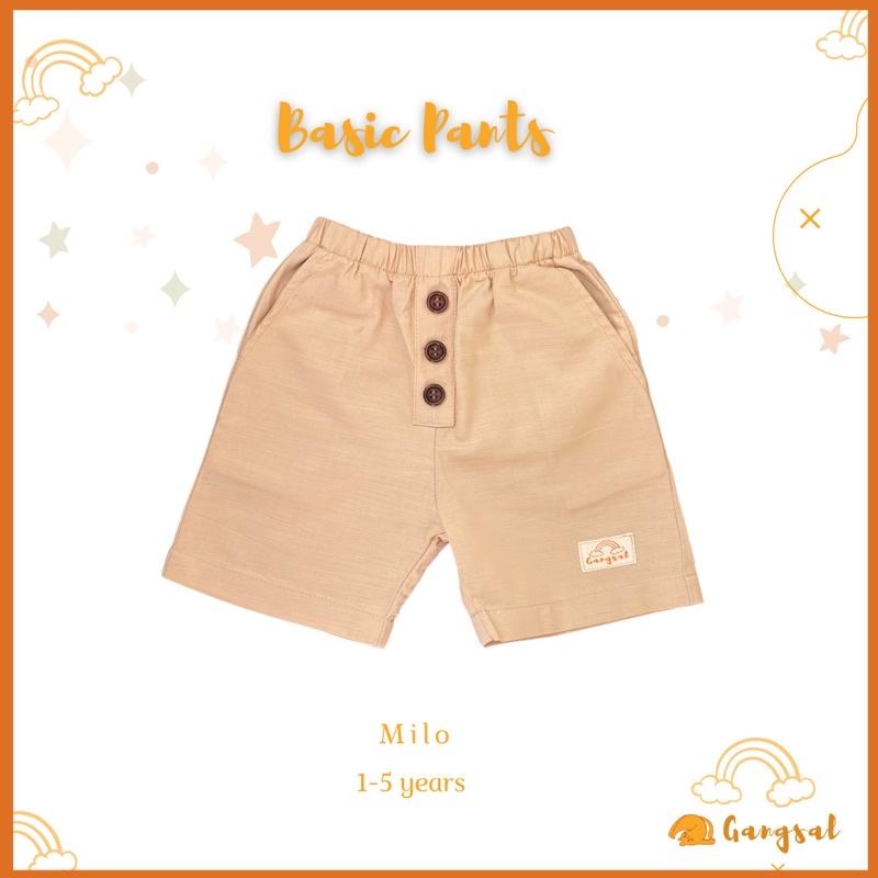 Gangsal Alit – celana pendek anak – celana pendek warna cokelat – celana anak katun linen