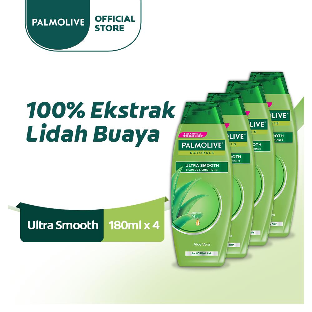 Palmolive Naturals Shampoo & Conditioner Ultra Smooth 180ml - Shampo Kondisioner (4pcs)
