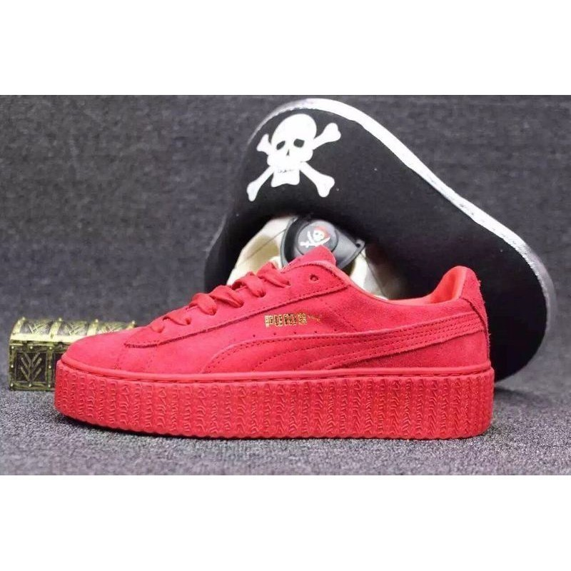Puma x Rihanna rap Queen Rihanna all red WMNS Creeper joint shoes loose  cake platform shoes  b02984f432