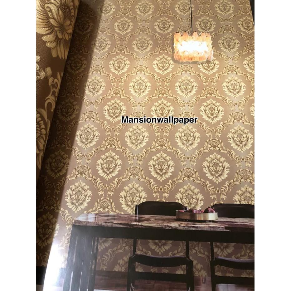 Terlaris Di Shopee Wallpaper Dinding Klasik Merah Biru Coklat Gradasi Warna Elegan