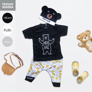 Setelan Anak Kaos T-Shirt Katun + Celana Pendek + Topi Beruang untuk Kostum anak/ bayi Laki Laki