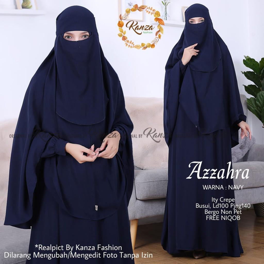 Setelan Gamis Muslimah Jilbab Cadar Azzahra Syari Ori Kanza Shopee Indonesia