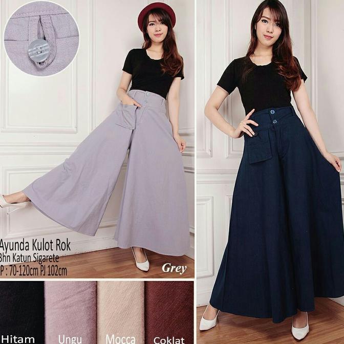 Dapatkan Harga rok Celana Kulot Pakaian Wanita Celana Highwaist Diskon | Shopee Indonesia