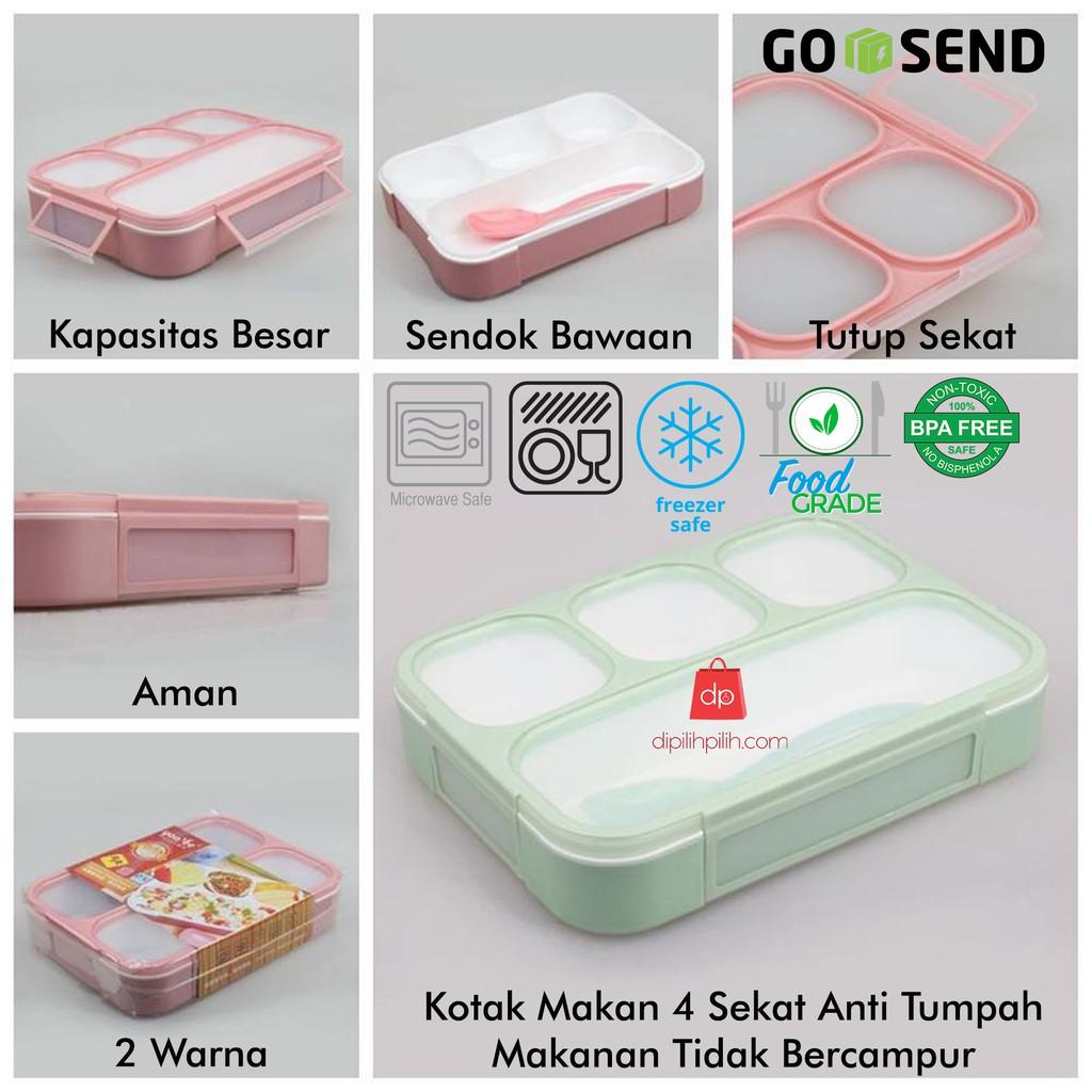 Lunch Box Sekat Yoyee 415 Kotak Makan 4 Tempat Bento Kootak Maakan Hijau Tosca Yooyee Shopee Indonesia