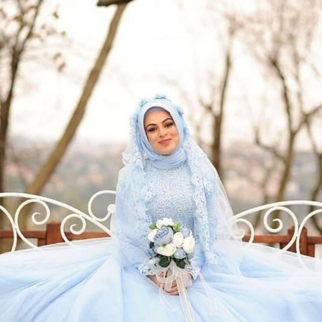 Gaun Pengantin Hijab Biru Muda Wedding Dress Bridal Baju Pengantin Muslimah Shopee Indonesia