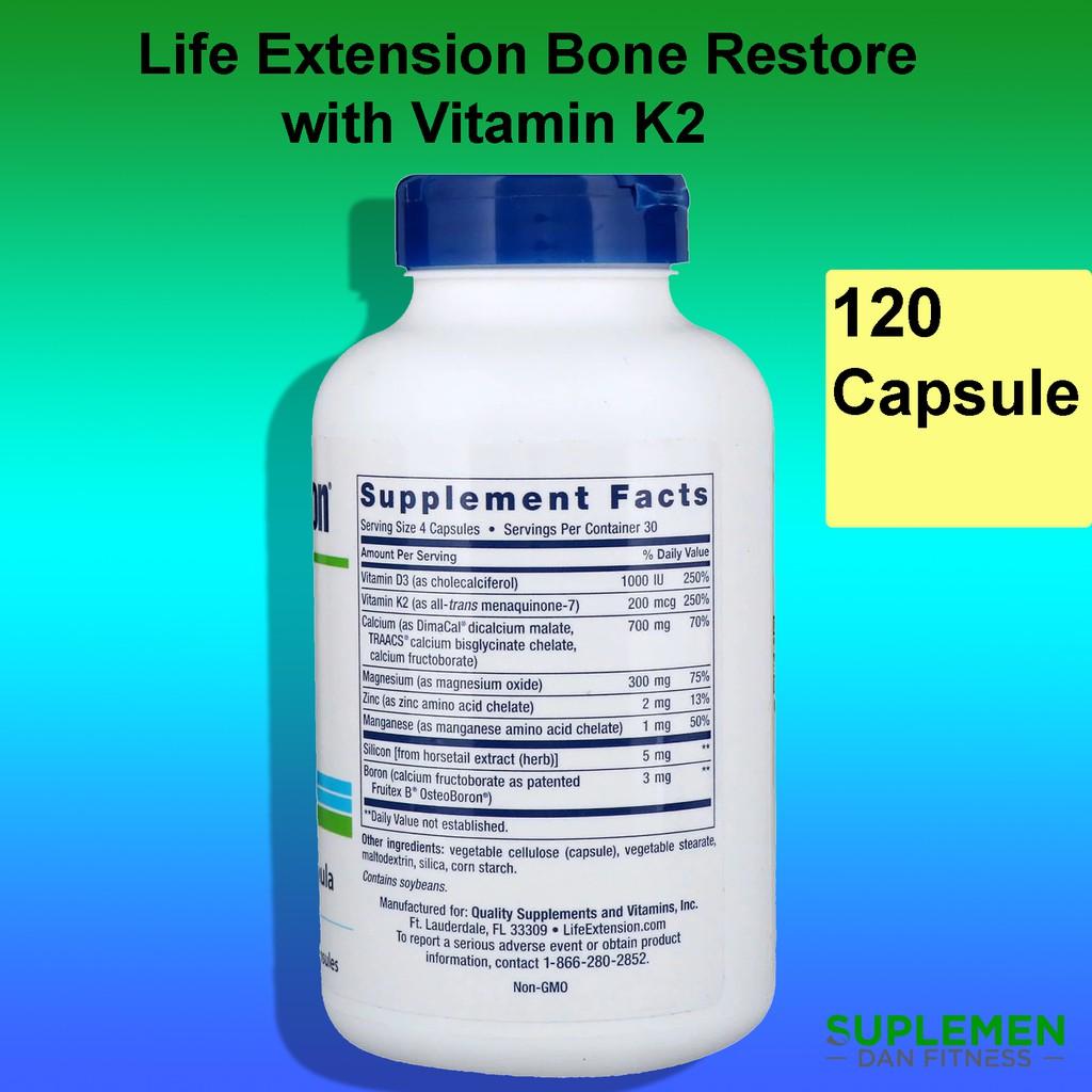 Life Extension Bone Restore With Vitamin K2 120 Calcium Kalsium