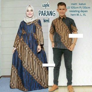 Couple (sarimbit) gamis etnik parang klasik warna Murah Ukuran Allsize bisa dibeli terpisah