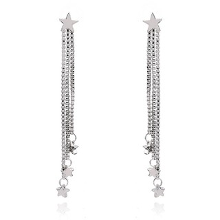... LRC Anting Tusuk Fashion Silver Color Star Shape Decorated Simple Long Chain Pure Color Earrings. suka: 18