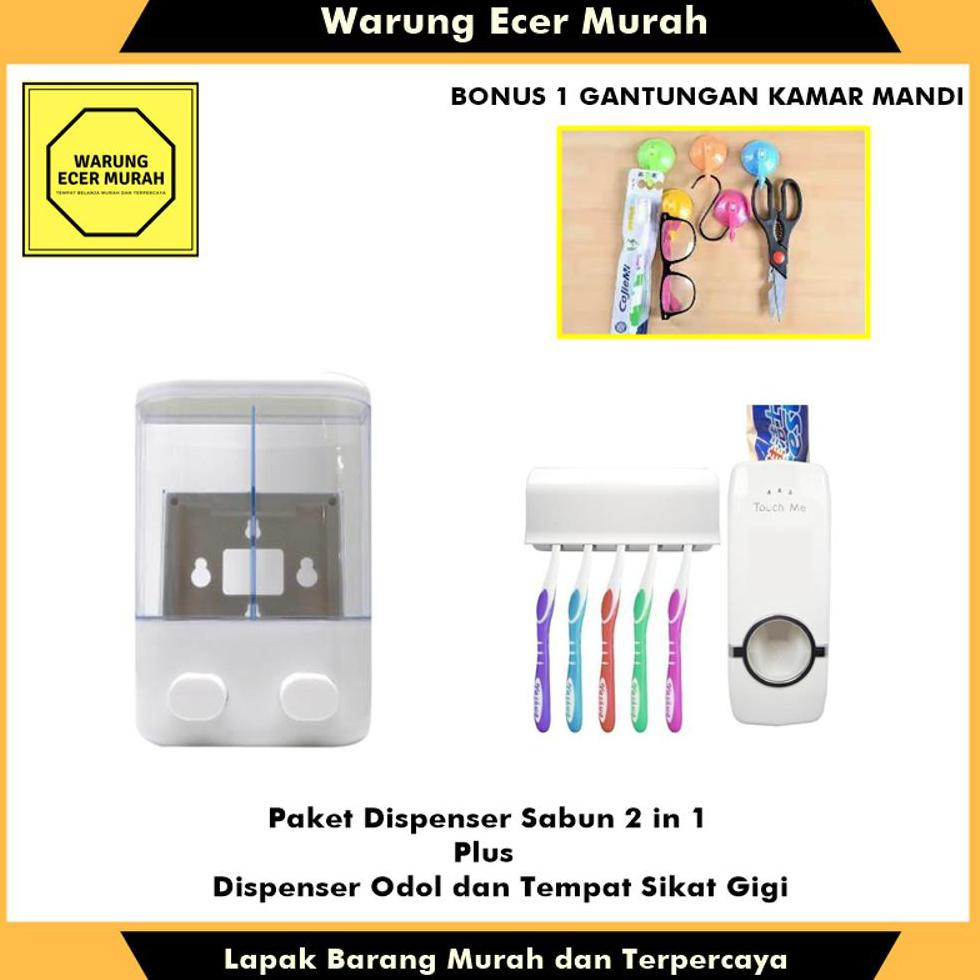 Fresh Paket Dispenser Sabun 2 Tabun dan Dispenser Odol plus Tempat Sikat Gigi FREE BONUS | Shopee Indonesia