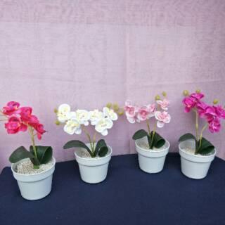 ariani1318 set bunga plastik anggrek mini dengan pot