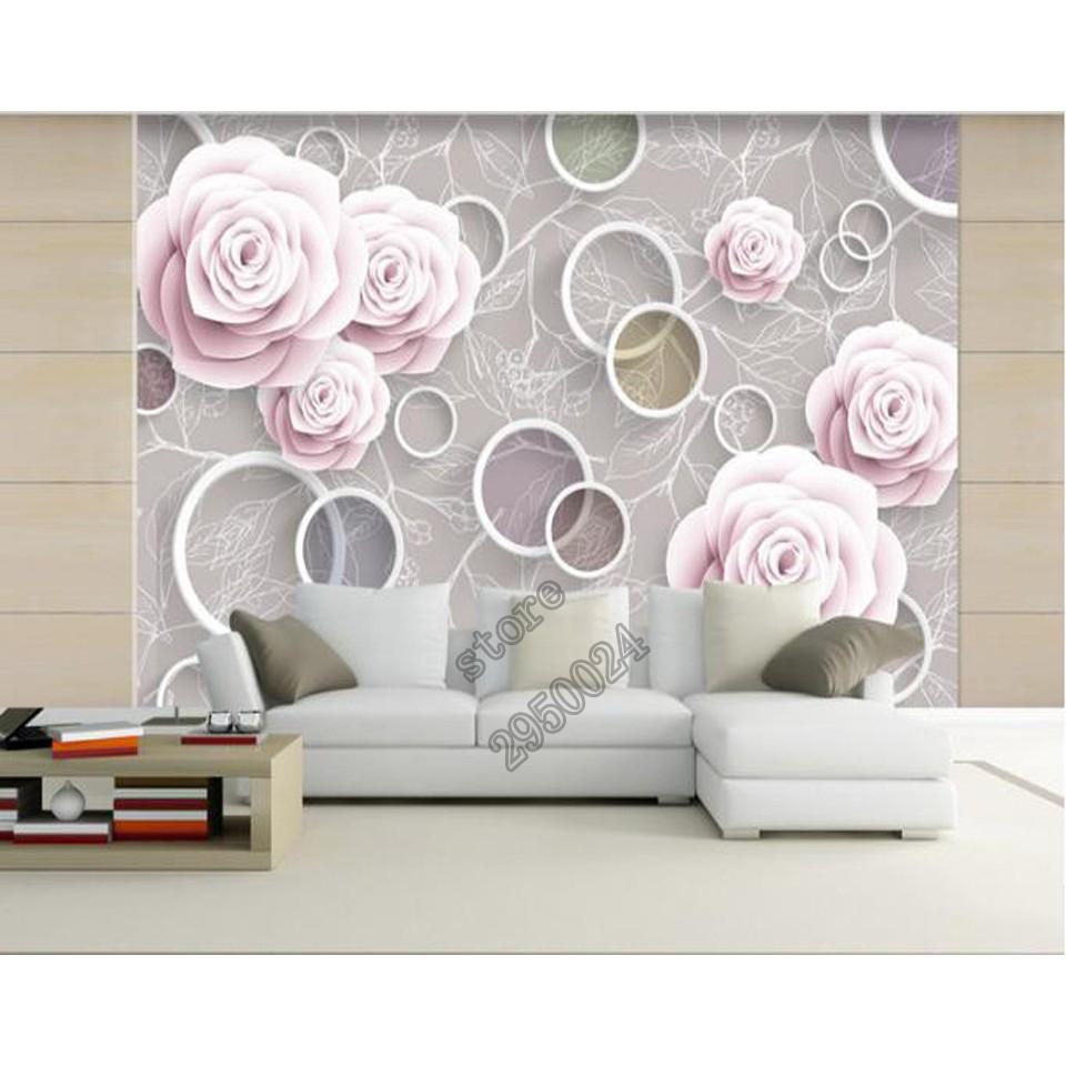 Wallpaper 3d Foto Lukisan Lingkaran Putih Pink Rose Mural Dinding Ruang Tamu Latar Belakang Dekorasi