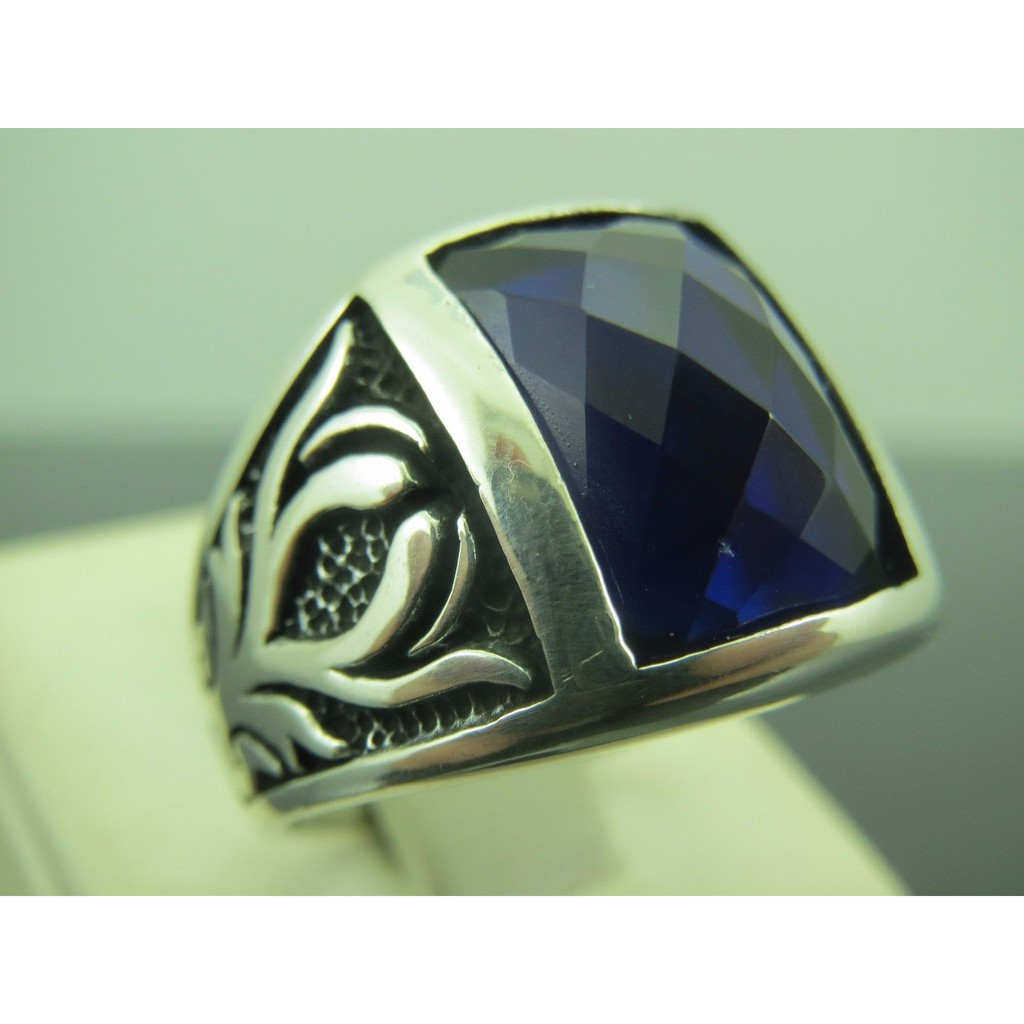 Cincin Pria Perak Stainless Steel Birthstones Sapphire Band Blue Ring Solitaire Shopee Indonesia
