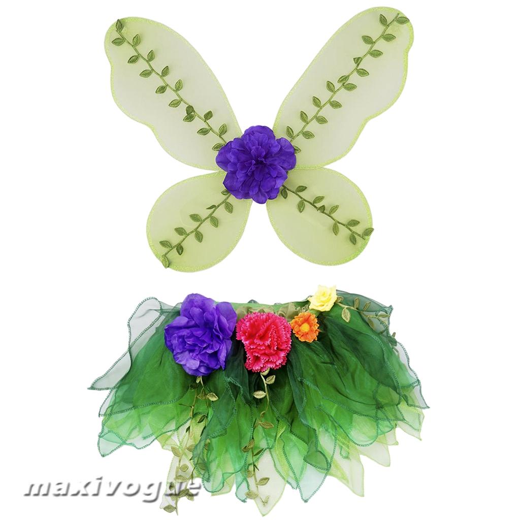 Prettyia Flower Leaf Butterfly Fairy Wings Tutu Skirt Fancy Dress Kids Party