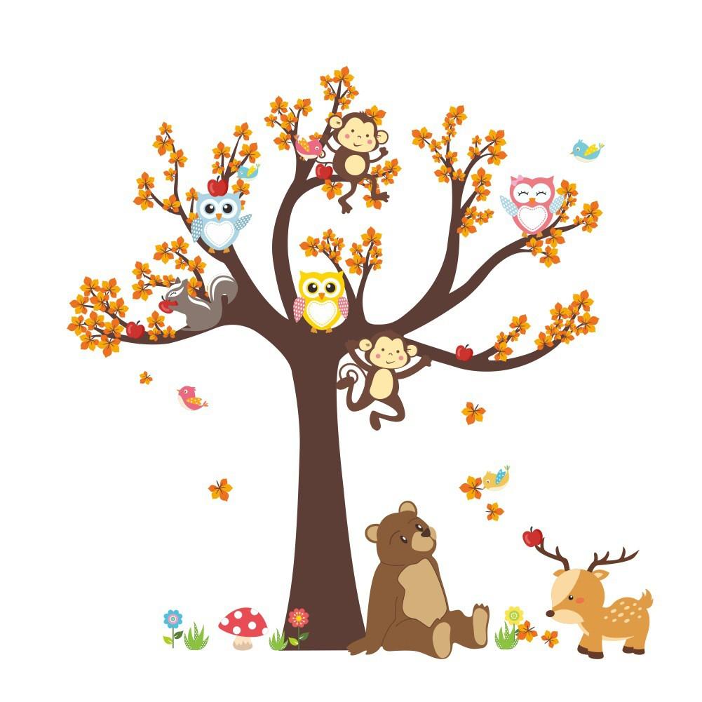 Stiker Dinding Dengan Bahan Mudah Dilepas Gambar Pohon Dan Burung