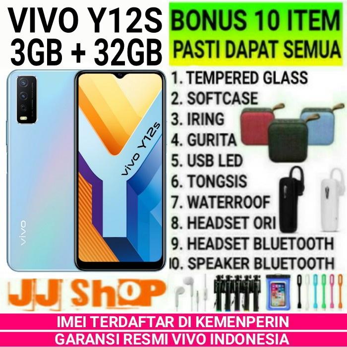 {moneycell} VIVO Y12S 332 RAM 3GB ROM 32GB GARANSI RESMI Y12 S - Y 12S - BLACK BONUS 4 ITEM Murah
