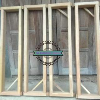 jendela + kusen kaca rumah bahan kayu jati mentahan model