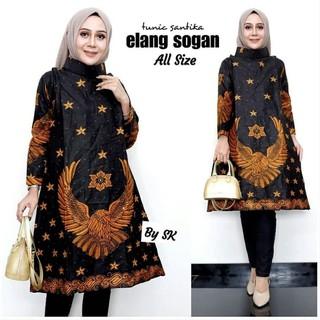 Baju Batik Tunik Batik Wanita Motif Sogan Elang Terbaru