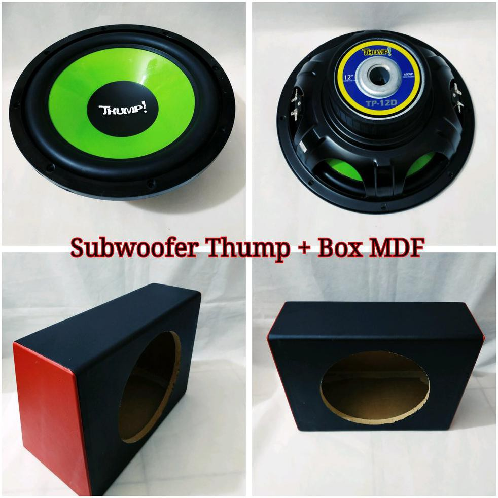 Aksesoris Mobil Subwoofer THUMP 12 inch Double Coil Dan Box MDF 12 inch