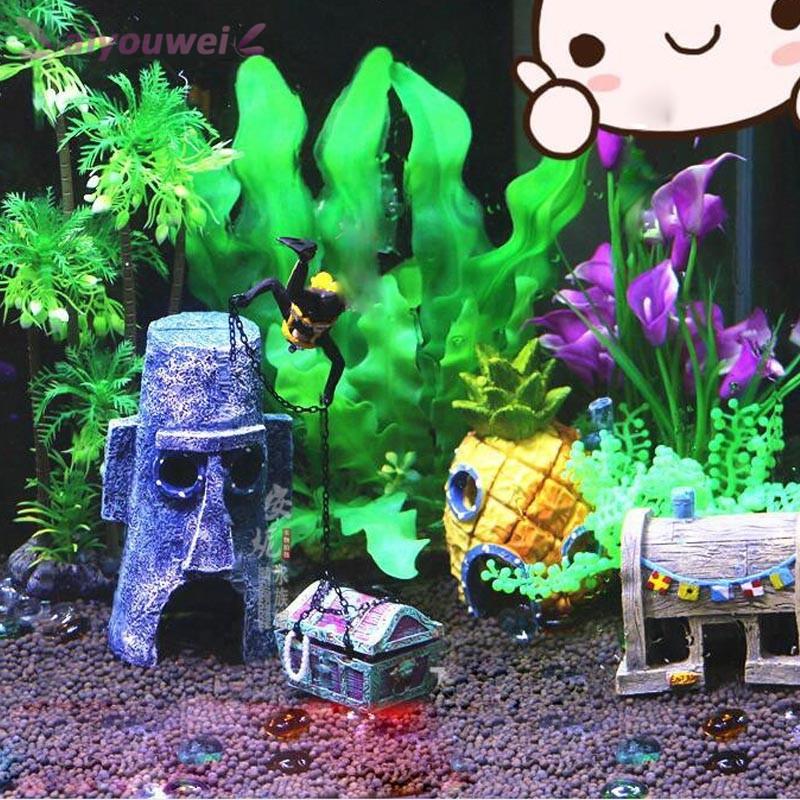Bayar Di Tempat Hiasan Aquarium Bentuk Rumah Nanas Spongebob Squarepants Squidward Krusty Krab Shopee Indonesia