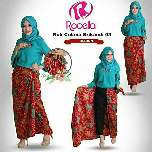 Celana Rok Kulot Plisket Wanita Jumbo Sandy Blue. Source · kebaya+batik+&