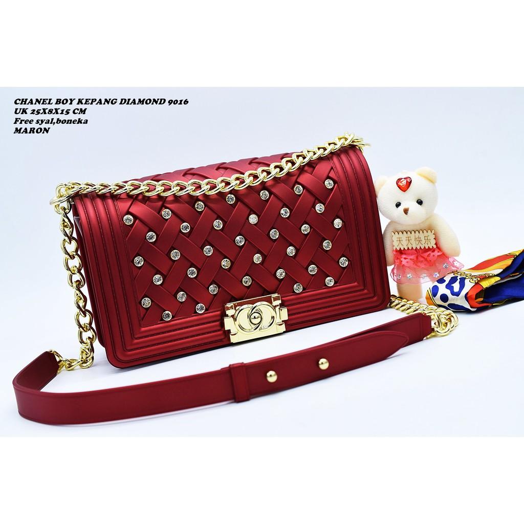 Chanel Boy Tikar 102   TAS ANYAM JELLY MATTE UK BESAR 25 CM  319fd895c5