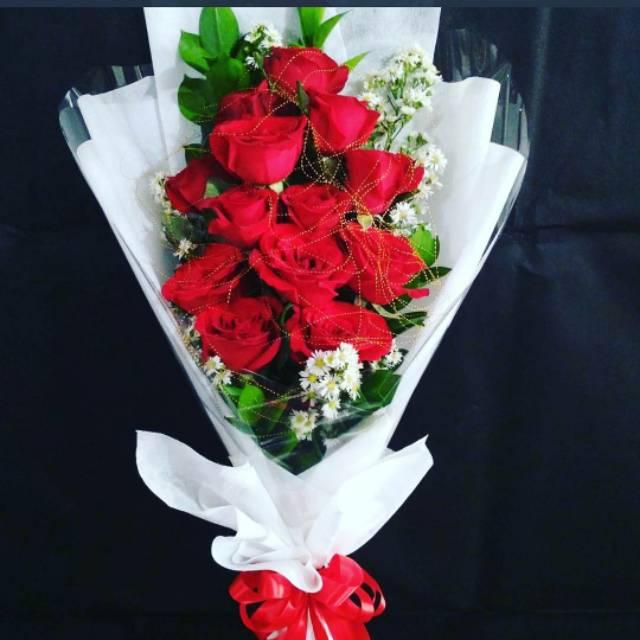 Buket Bunga Mawar Merah Asli Segar Hadiah Kado Ulang Tahun Anniversary Wisuda Ultah Valentine Unik Shopee Indonesia