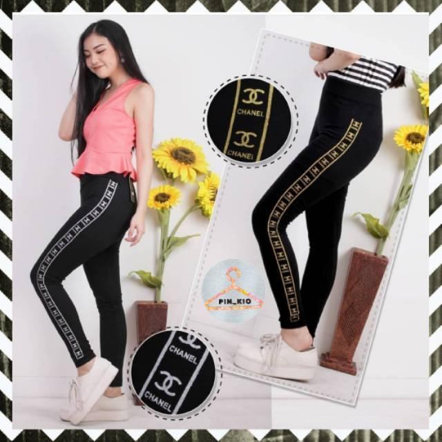 Celana Legging Olahraga List Chael Import Leging Senam Wanita Kekinian Termurah Tebal Shopee Indonesia