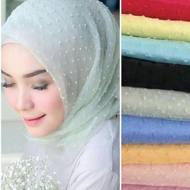 Jilbab Organza Dot Murah Shopee Indonesia