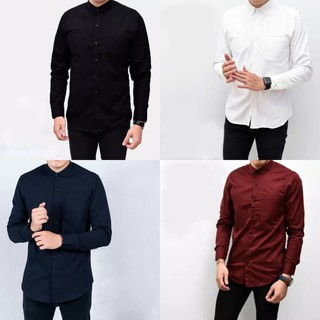Belanja murah Baju Kemeja Lengan Panjang Pria Polos Big Size Xxl Jumbo Aneka Warna - Hitam, M lowest price - only Rp107.189