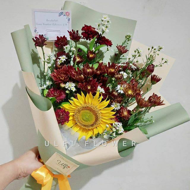 Buket bunga matahari segar asli, buket wisuda