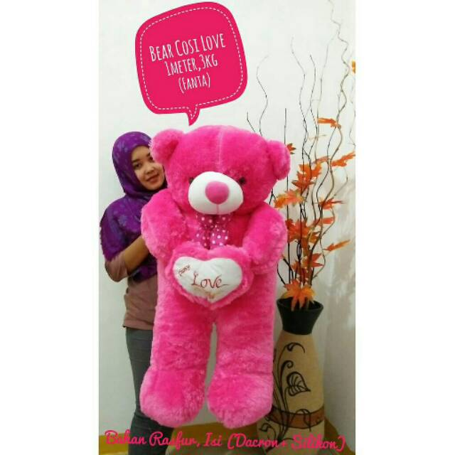 BONEKA BERUANG TEDDY BEAR COSY LOVE JUMBO KADO HADIAH UKIR NAMA PINK FANTA | Shopee Indonesia