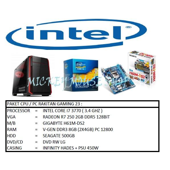 PC PAKET CPU RAKITAN GAMING 23 / INTEL CORE I7 3770 (3.4 GHZ) / RAM 8GB