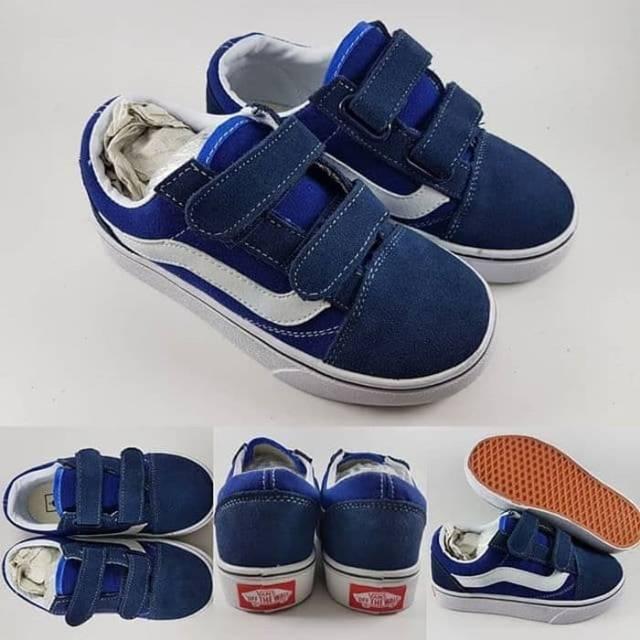 Sepatu Anak Sepatu Kets Sepatu Vans Old skool Classics Canvas Velcro Kids  Black Hitam  380e73baa1