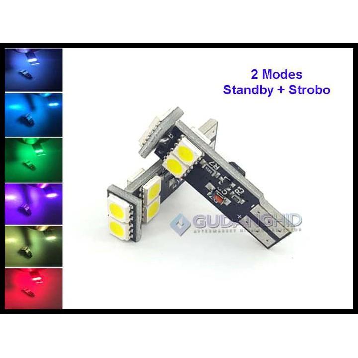 Spextrum LED Lampu Senja STROBO Blitz T10 5050 6 Mata 12V 1.5W 2 Mode | Shopee Indonesia
