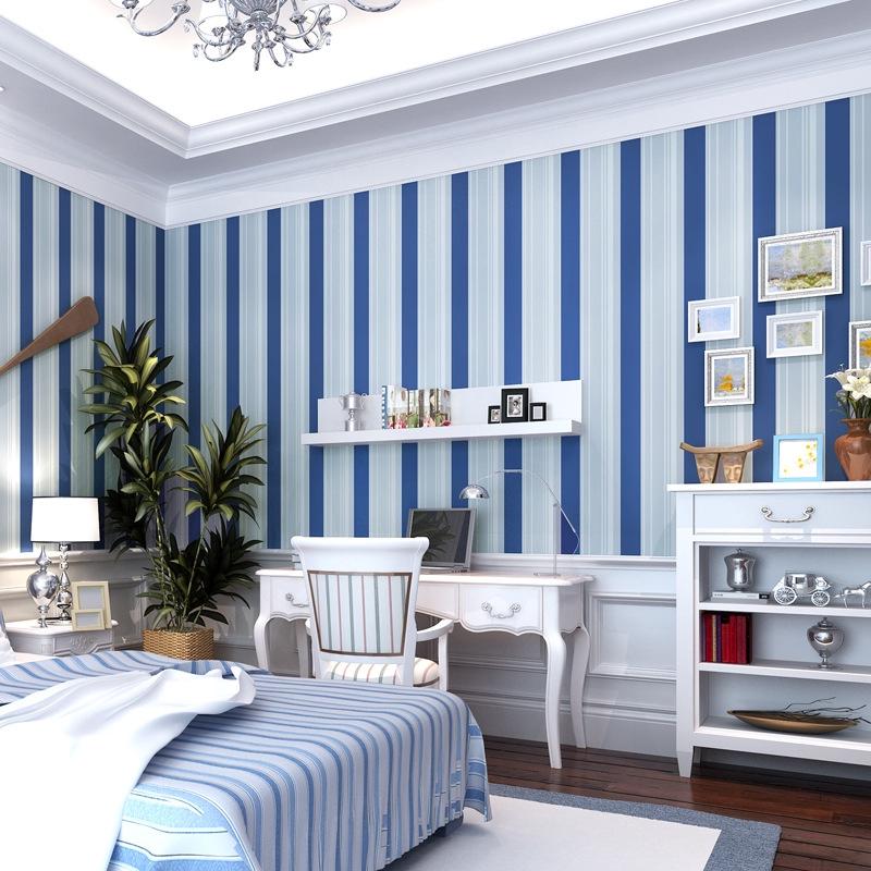 Wallpaper Gaya Mediterania Warna Biru Tua Putih Garis Vertikal Untuk Ruang Tamu Dan Kamar Tidur Anak Shopee Indonesia